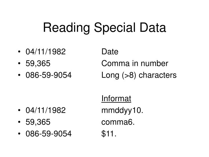 Reading Special Data