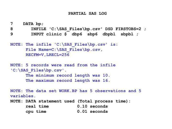 PARTIAL SAS LOG