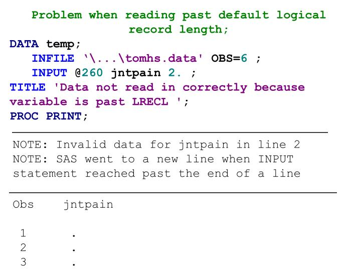 Problem when reading past default logical record length;