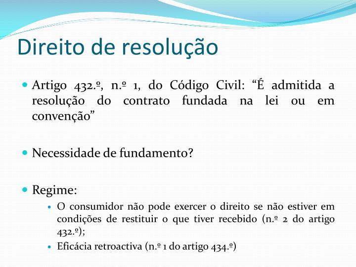 Direito de resolução
