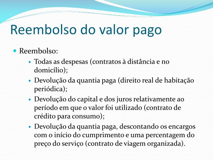Reembolso do valor pago