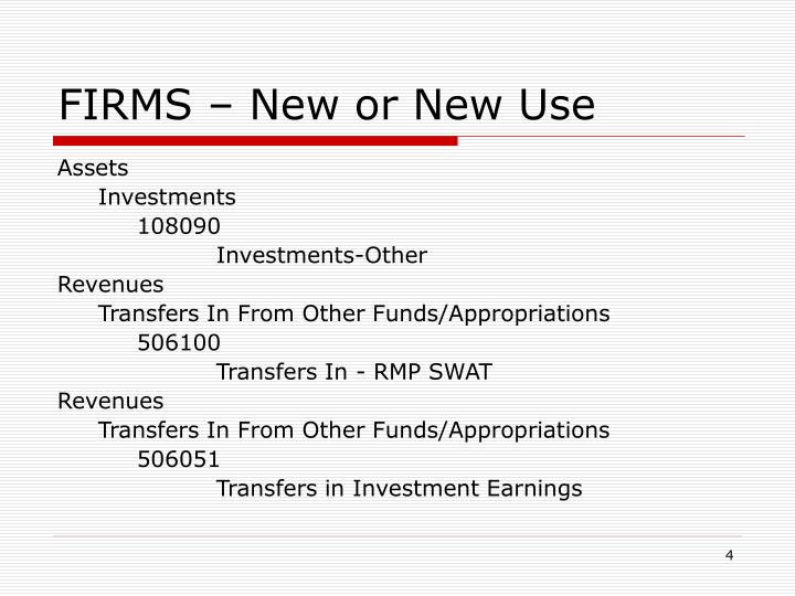 FIRMS – New or New Use