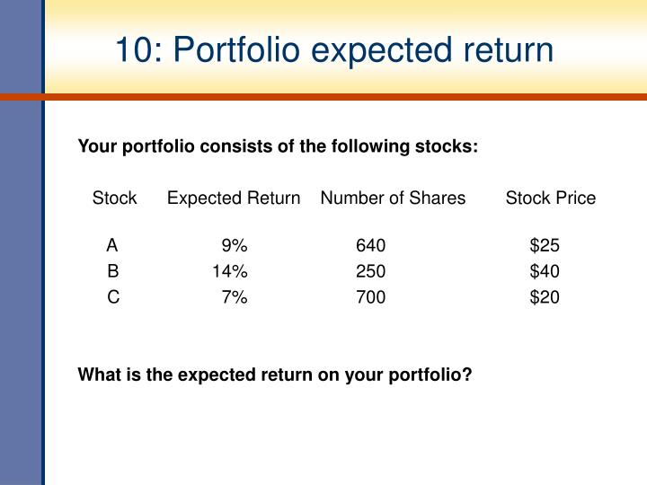 10: Portfolio expected return