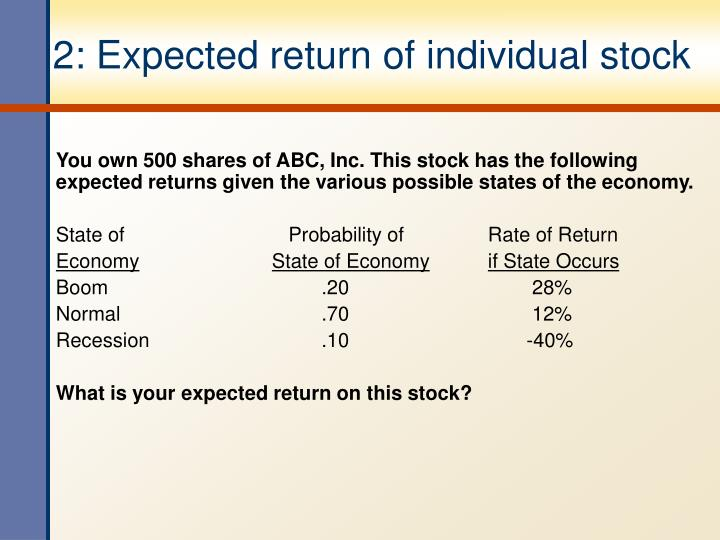 2 expected return of individual stock