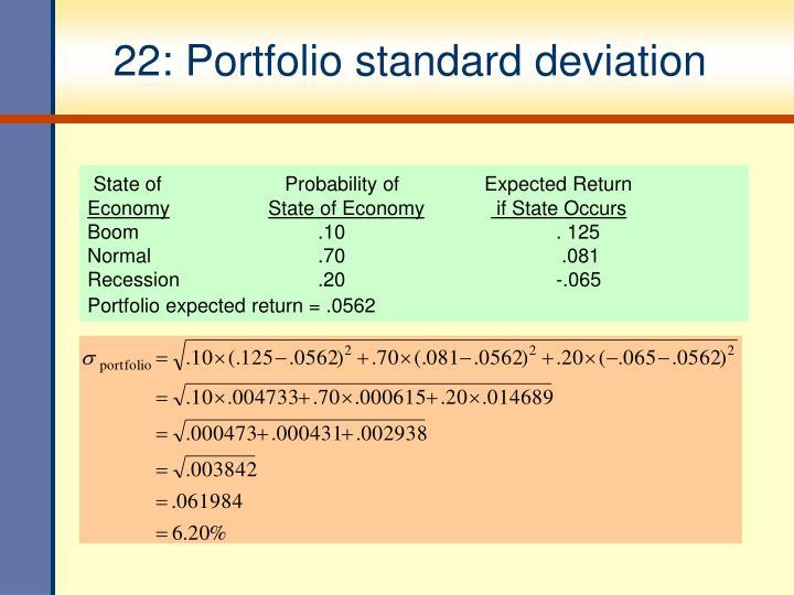 22: Portfolio standard deviation