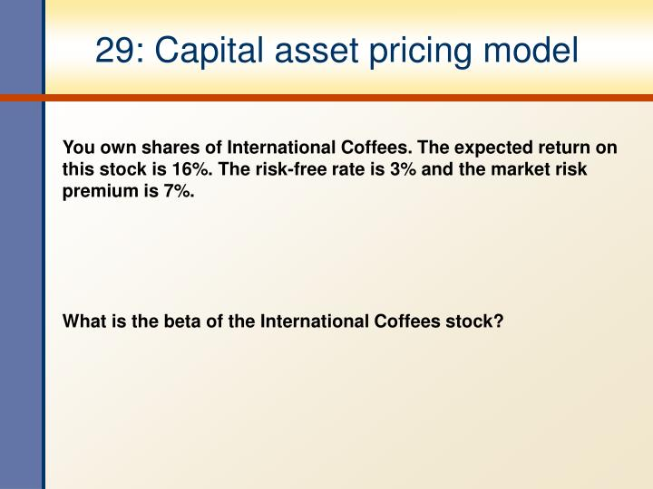 29: Capital asset pricing model