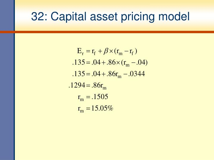 32: Capital asset pricing model