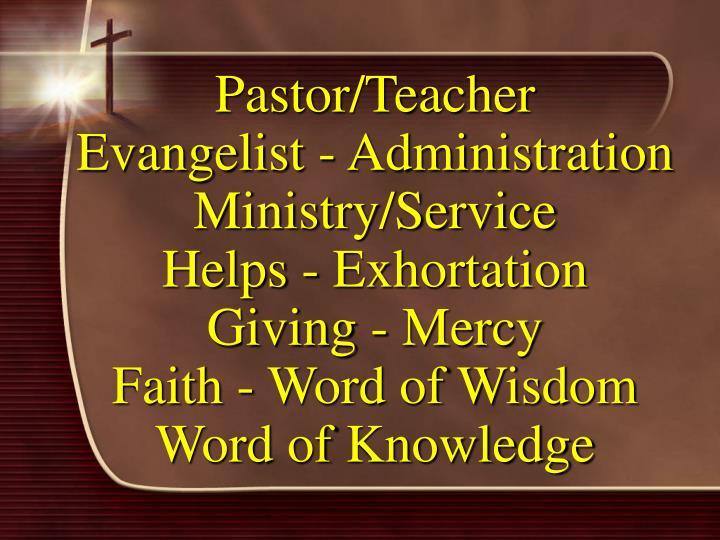 Pastor/Teacher