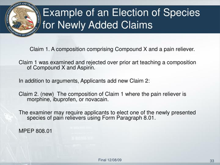 Example of an Election of Species for Newly Added Claims