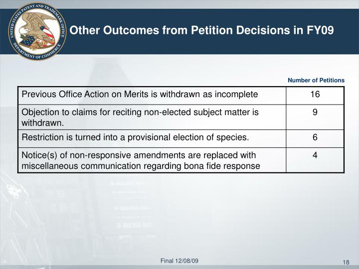 Other Outcomes from Petition Decisions in FY09