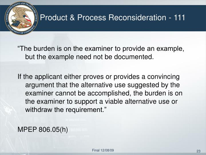 Product & Process Reconsideration - 111
