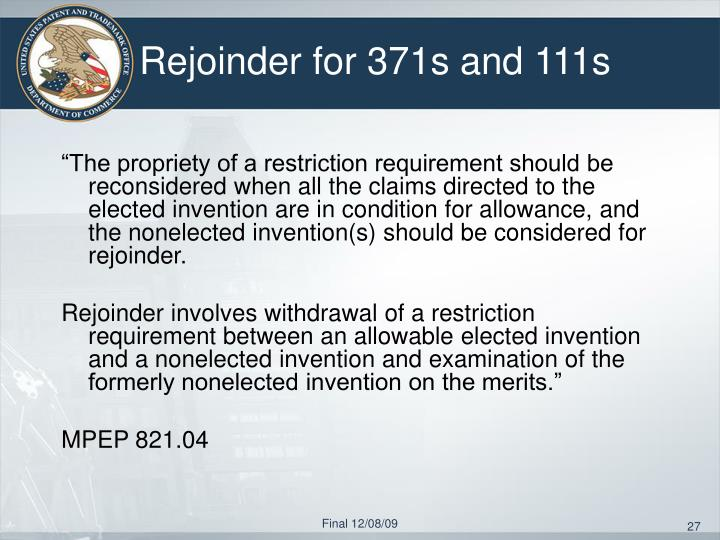 Rejoinder for 371s and 111s
