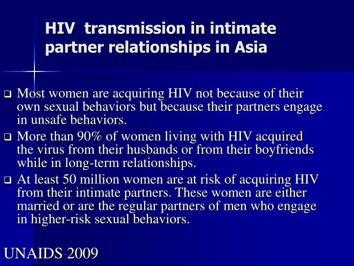 HIV  transmission in intimate partner relationships in Asia
