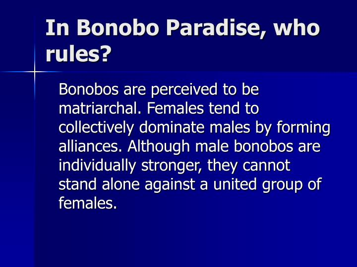 In Bonobo Paradise, who rules?
