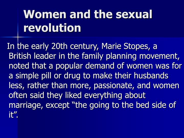 Women and the sexual revolution