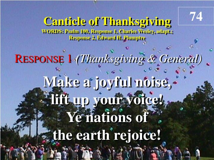 canticle of thanksgiving response 1