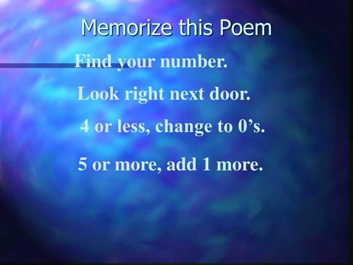 Memorize this Poem