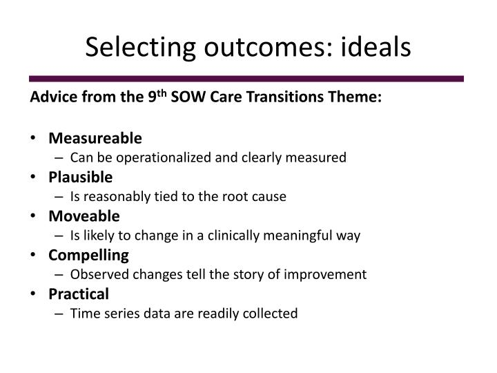 Selecting outcomes: ideals