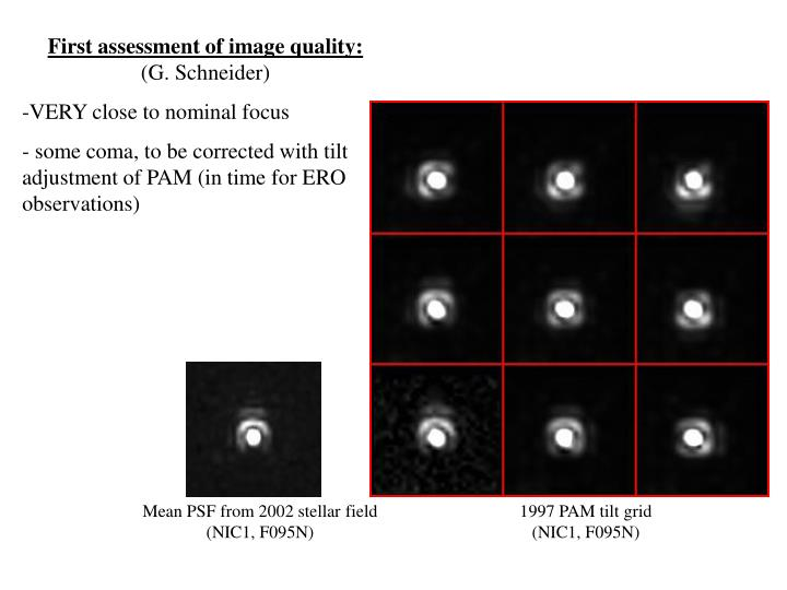 First assessment of image quality: