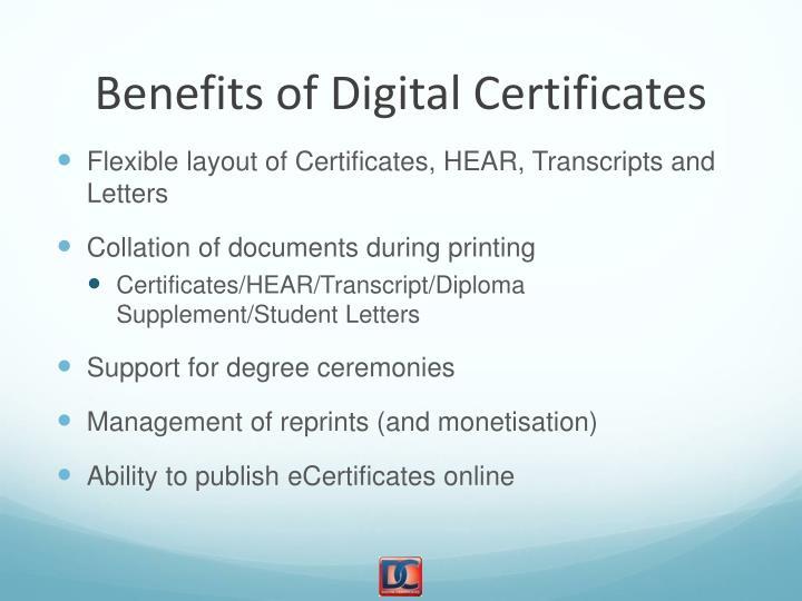 Benefits of Digital Certificates