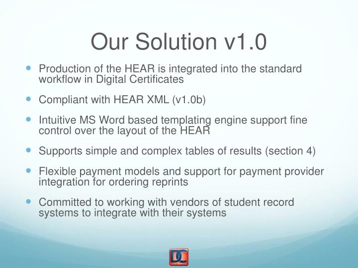 Our Solution v1.0