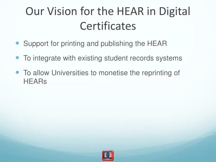 Our Vision for the HEAR in Digital Certificates