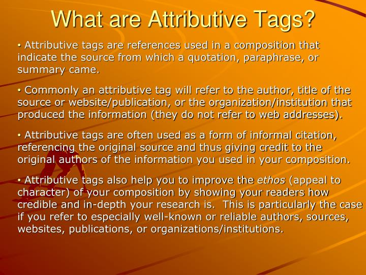 What are Attributive Tags?