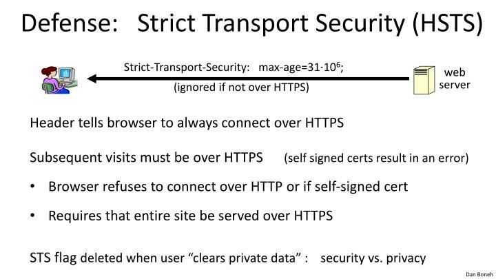 Defense:   Strict Transport Security (HSTS)