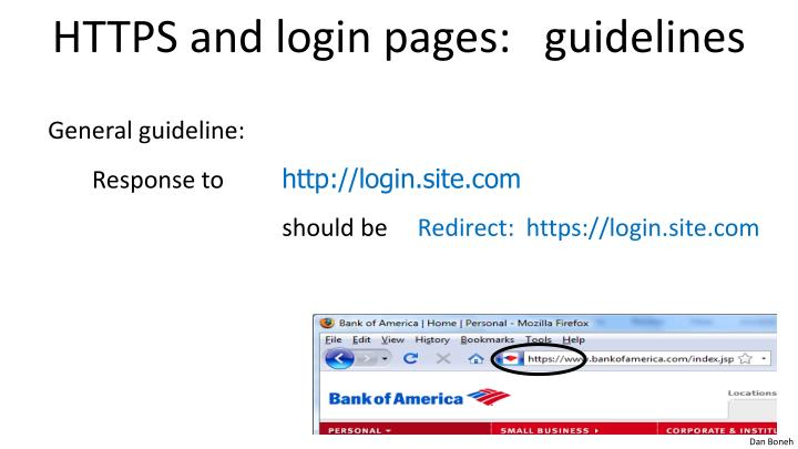 HTTPS and login pages:   guidelines