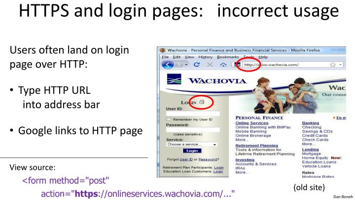 HTTPS and login pages:   incorrect usage