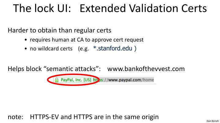 The lock UI:   Extended Validation Certs