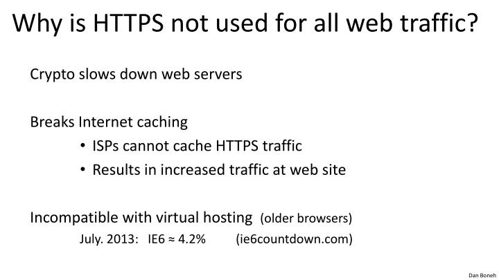 Why is HTTPS not used for all web traffic?
