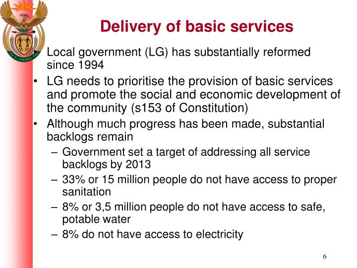 Delivery of basic services
