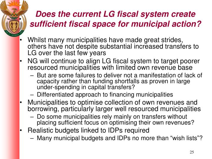 Does the current LG fiscal system create sufficient fiscal space for municipal action?