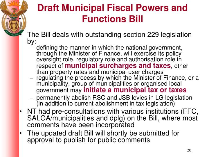 Draft Municipal Fiscal Powers and Functions Bill