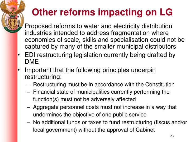 Other reforms impacting on LG