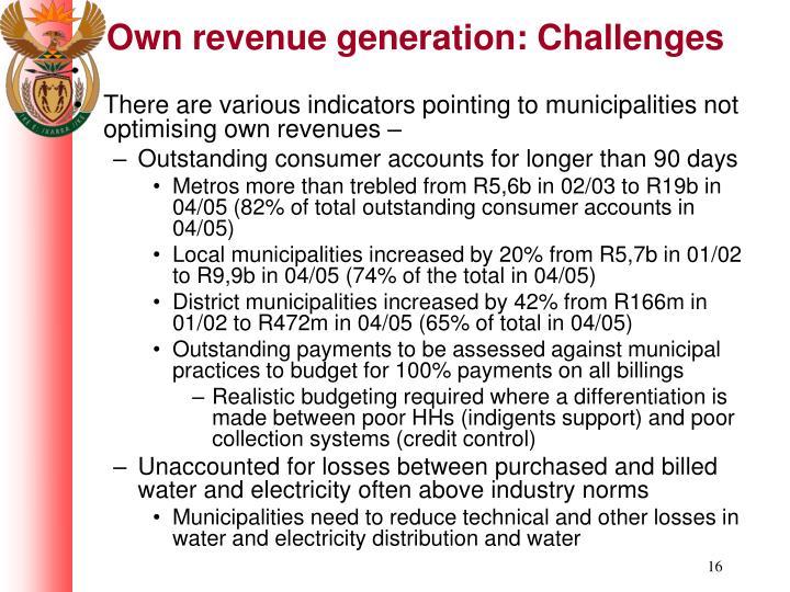 Own revenue generation: Challenges
