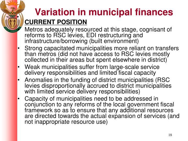 Variation in municipal finances