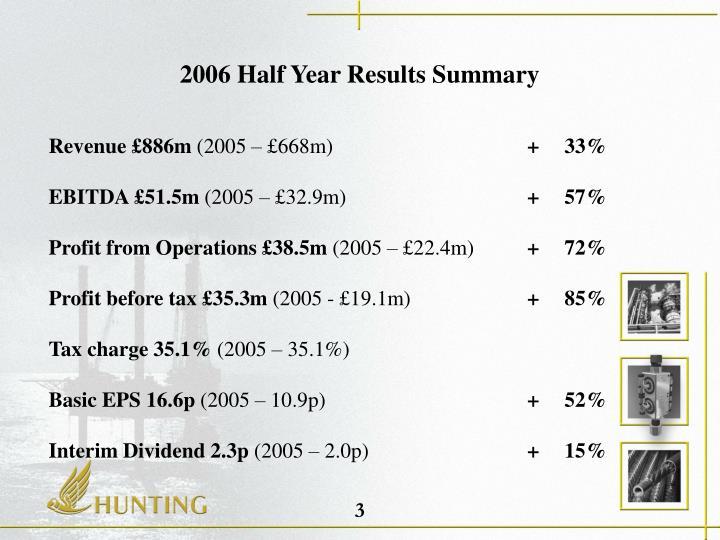 2006 Half Year Results Summary