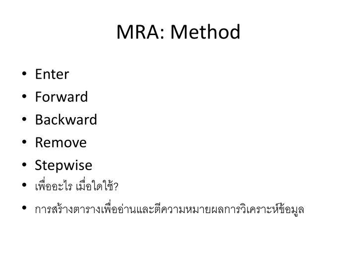 MRA: Method