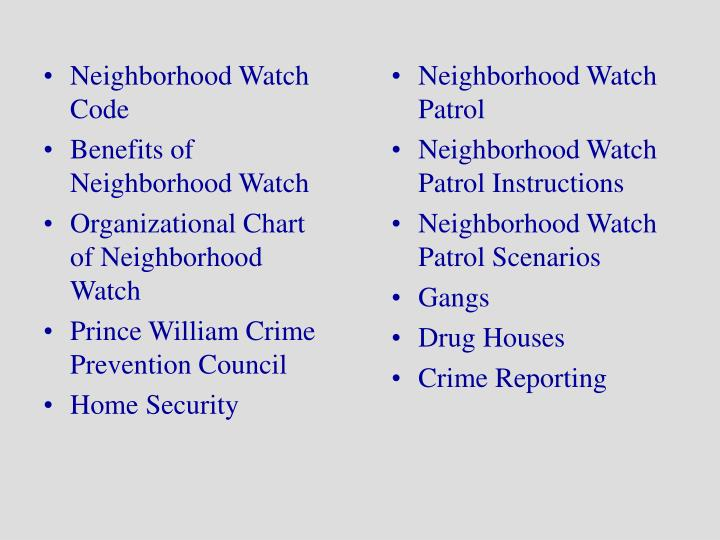 Neighborhood Watch Code