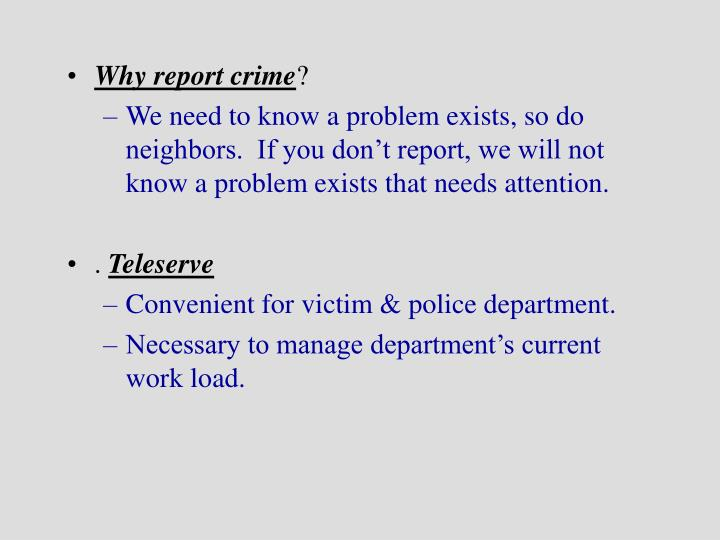 Why report crime