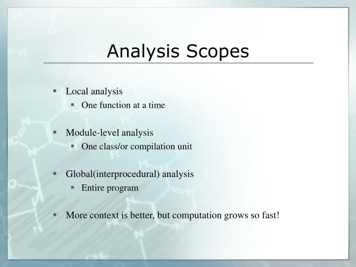 Analysis Scopes
