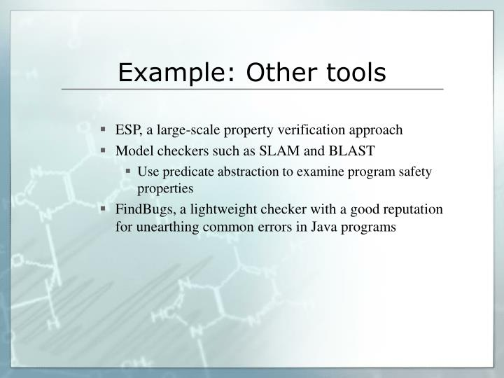 Example: Other tools