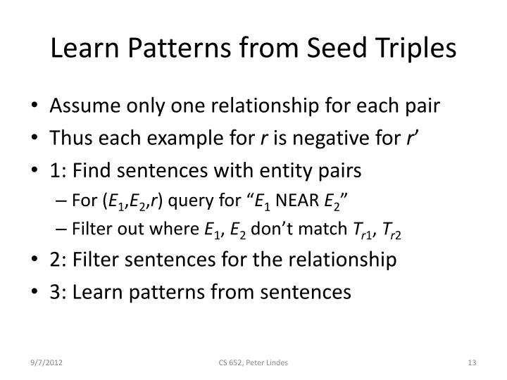 Learn Patterns from Seed Triples