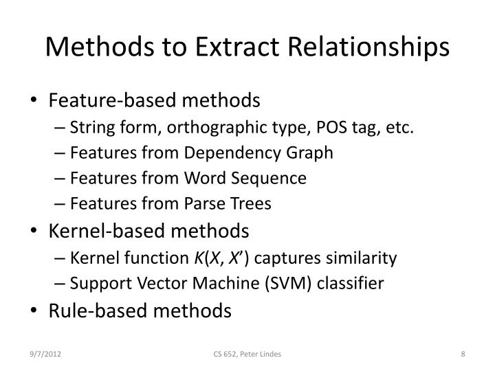 Methods to Extract Relationships