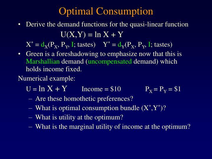 Optimal Consumption