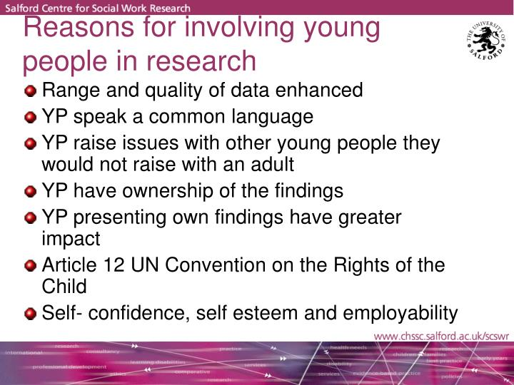 Reasons for involving young people in research
