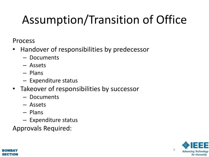 Assumption/Transition of Office
