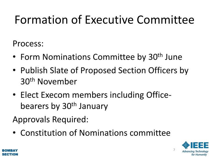 Formation of Executive Committee
